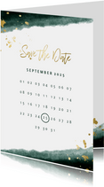 Save-the-Date-Karte zur Hochzeit mit Foto grün mit Kalender