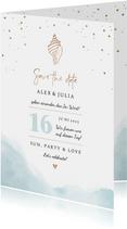 Save-the-Date-Karte zur Hochzeit Strandfeeling