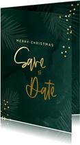 Save the date kerstkaart met groene waterverf en confetti