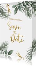 Save the date kerstkaart met kersttakjes en gouden tekst