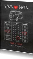 Save the Date krijtbord vw busje