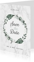 Save the date marmer stijlvol klassiek eucalyptus