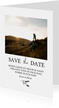 Save the date met foto, bijbeltekst en takje