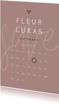 Save the date minimalistisch met hartje kalender
