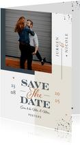 Save the date stijlvol modern grafisch met vlakverdeling