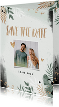 Save the date trouwkaart botanisch goud waterverf