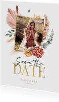 Save the date trouwkaart droogbloemen bohemian stijlvol foto