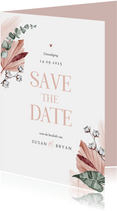 Save the date trouwkaart droogbloemen stijlvol klassiek foto