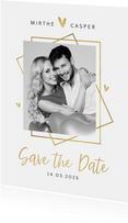 Save the date trouwkaart goud stijlvol modern grafisch hart
