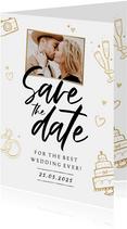 Save the date trouwkaart hip stijlvol goud foto