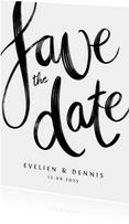 Save the date trouwkaart kalligrafie zwart wit