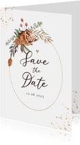 Save the date trouwkaart stijlvol droogbloemen waterverf