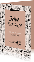 Save the date vintage klaprozen