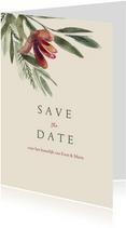 Save the datekaart met roze rode waterverf bloem en takjes
