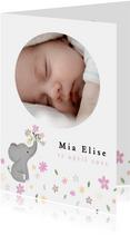 Schattig geboortekaartje met olifantje en bloemetjes