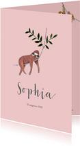Schattig geboortekaartje roze met trendy luiaard dieren