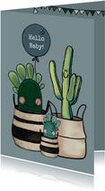 Schattige felicitatiekaart geboorte baby met cactussen