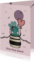 Schattige felicitatiekaart voor een verjaardag met cactus