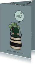 Schattige felicitatiekaart voor geboorte jongen met cactus