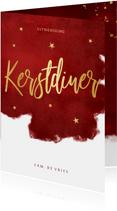 Sfeervolle uitnodiging kerstdiner warmrood goud waterverf