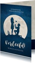 Silhouet verlovingskaart - uitnodiging verlovingsfeest maan