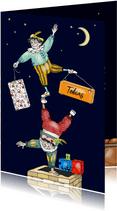Sinterklaas - acrobaten pieten op de schoorsteen