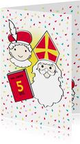 Sinterklaas en  Piet met het grote boek en eigen naam