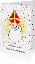 Sinterklaas is jarig, vrolijke feest kaart