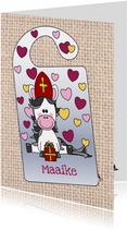Sinterklaas knutselkaart deurhanger met lief paard en naam
