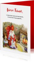 Sinterklaas schoen zetten bij open haard