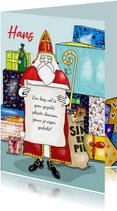 Sinterklaas - Sint met gedicht en een berg pakjes