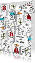 Sinterklaaskaart kindertekeningen Sint en Piet