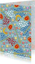 Sinterklaaskaart met kadootjes, mijters, staf en pompeblêden