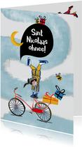 Sinterklaaskaart met stuntende Piet die de kado's verliest