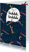 Sinterklaaskaart met vliegende Pietjes en sterren