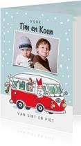 Sinterklaaskaart volkswagenbus met sint en pieten en foto