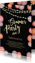 Sommerparty Einladungskarte mit Lampions
