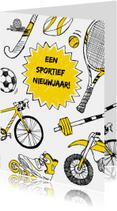 Sportieve nieuwjaarskaart