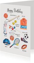 Sportieve verjaardagskaart sport elementen