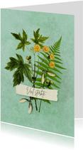 Sterkte kaart met bundeltje takjes bloem en zaden