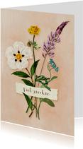 Sterkte kaart met klein boeketje van wilde bloemen
