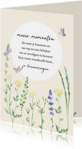 Sterkte kaart quote veldbloemen en vlinders