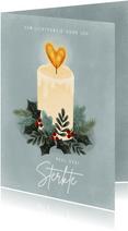 Sterkte kerstkaart met kaarsje, kersttakjes en hartje