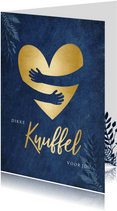 Sterktekaart blauwe kaart met gouden hart knuffel