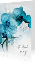 Sterktekaart blauwe orchidee aquarel
