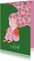 Sterktekaart dame bloemen in het haar