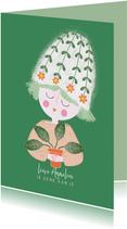 Sterktekaart dame plant groen