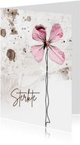Sterktekaart grunge roze bloem