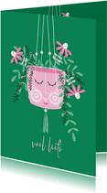 Sterktekaart hangplant roze bloemen