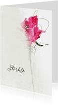 Sterktekaart in gedachten roze roos